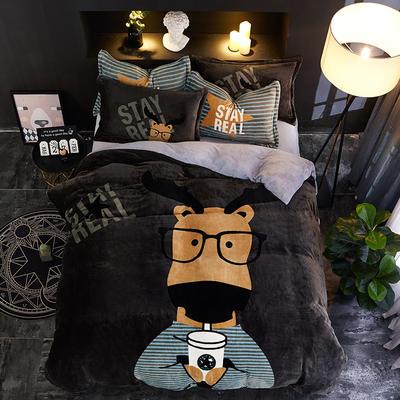 2019大版卡通法莱绒牛奶绒床单床笠情侣款四件套 床单款1.8m(6英尺)床 鹿先生