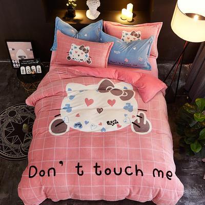 2019大版卡通法莱绒牛奶绒床单床笠情侣款四件套 床单款1.8m(6英尺)床 猫小妖