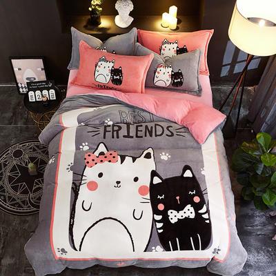 2019大版卡通法莱绒牛奶绒床单床笠情侣款四件套 床单款1.8m(6英尺)床 萌萌猫