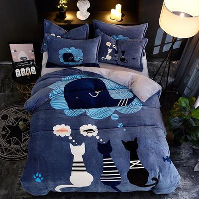 2019大版卡通法莱绒牛奶绒床单床笠情侣款四件套 床单款1.5m(5英尺)床 思念