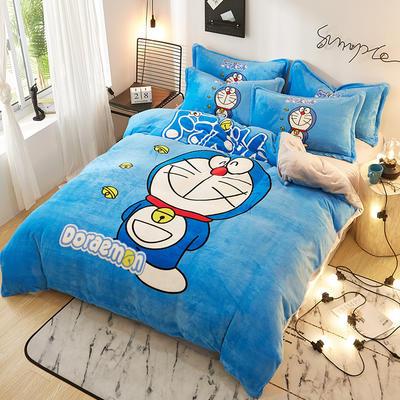 2019大版卡通法莱绒牛奶绒床单床笠情侣款四件套 床单款1.2m(4英尺)床 微笑叮当