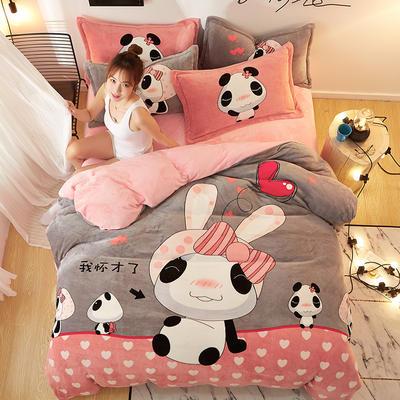 2019大版卡通法莱绒牛奶绒床单床笠情侣款四件套 床笠款标准1.8m(6英尺)床 小女子不才