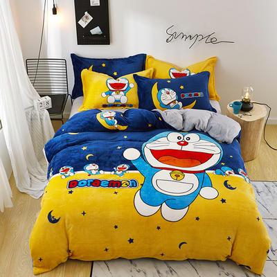 2019大版卡通法莱绒牛奶绒床单床笠情侣款四件套 床单款1.5m(5英尺)床 星空叮当