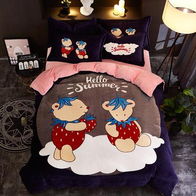 2019大版卡通法莱绒牛奶绒床单床笠情侣款四件套 床单款1.8m(6英尺)床 熊之恋
