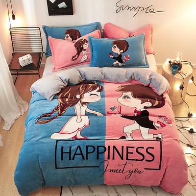 2019大版卡通法莱绒牛奶绒床单床笠情侣款四件套 床单款1.2m(4英尺)床 咱们结婚吧