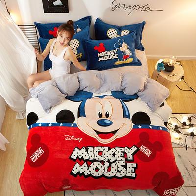 2019大版卡通法莱绒牛奶绒床单床笠情侣款四件套 床单款1.2m(4英尺)床 奇幻世界