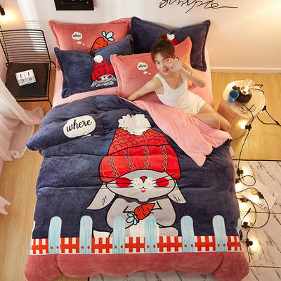 2019大版卡通法莱绒牛奶绒床单床笠情侣款四件套 床单款1.5m(5英尺)床 小红帽