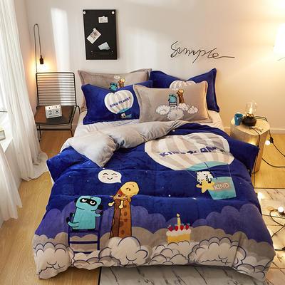 2019大版卡通法莱绒牛奶绒床单床笠情侣款四件套 床单款1.5m(5英尺)床 仰望天空