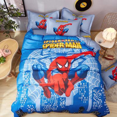2020新款斜纹大版卡通四件套抖音网红款 小号4件(适合1.2m-1.5m床)被套150/200,床单230/240,枕套48/74*2 蜘蛛侠