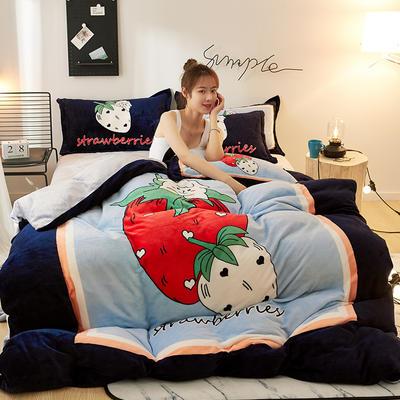 2020新款大版卡通法莱绒牛奶绒床单床笠情侣款四件套 1.5m床单款四件套 草莓羊