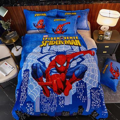 2020新款大版卡通法莱绒牛奶绒床单床笠情侣款四件套 1.2m床单款四件套 大厦蜘蛛侠