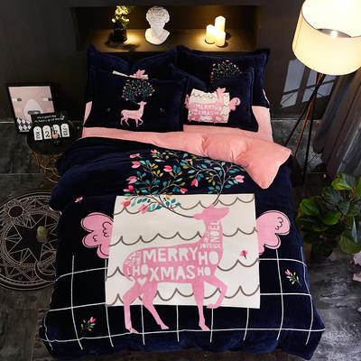 2020新款大版卡通法莱绒牛奶绒床单床笠情侣款四件套 1.2m床单款四件套 高情远致