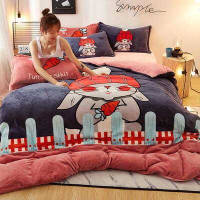 2020新款大版卡通法莱绒牛奶绒床单床笠情侣款四件套 1.2m床单款四件套 小红帽