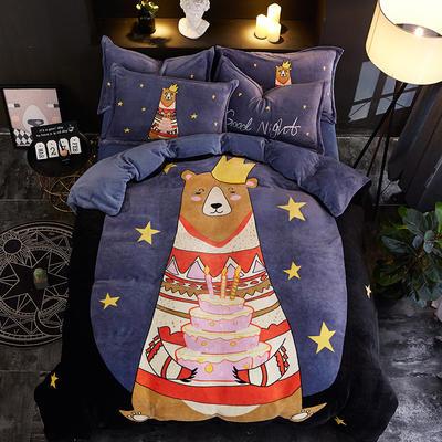 2020新款大版卡通法莱绒牛奶绒床单床笠情侣款四件套 1.2m床单款四件套 星雨心愿