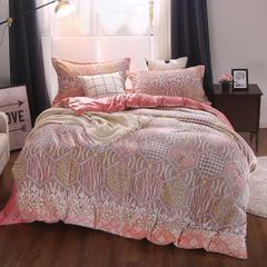 尊辉家纺 2018新款6D雕花绒四件套水晶绒法莱绒四件套馨肤绒珊瑚绒 戴安娜-红 1.5m(5英尺)床 戴安娜-红