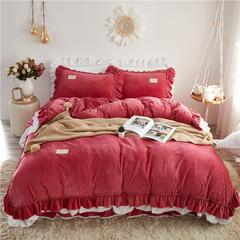(总)亲亲公主2018新款宝宝绒保暖床裙四件套淑女公主风系列 1.5m(5英尺)床 宝石红