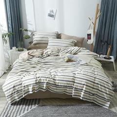 (总)2019新品-简约无印良品风格条纹全棉色织水洗棉四件套 1.2m(4英尺)床 藏青条纹