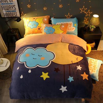 2019新款-法莱绒印花卡通大版四件套 1.5m(5英尺)床/床单款 夜色