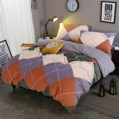2018新款-水晶绒印花四件套 1.8m(6英尺)床/床单款 米卡-大格
