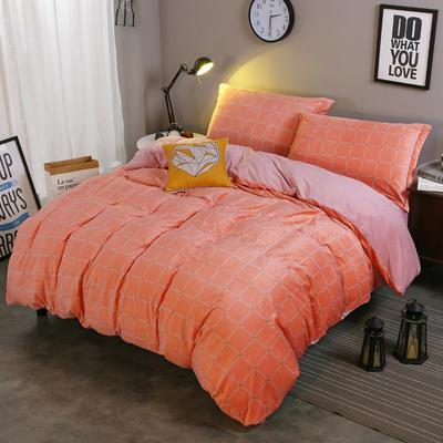 2018新款-水晶绒印花四件套 1.8m(6英尺)床/床单款 米卡-淡桔格