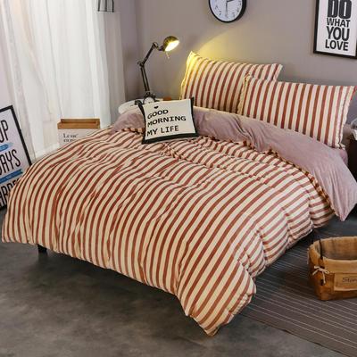 2018新款-水晶绒印花四件套 1.8m(6英尺)床/床单款 米卡-豆沙红条