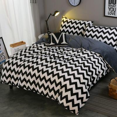 2018新款-水晶绒印花四件套 1.8m(6英尺)床/床单款 米卡-黑白波纹
