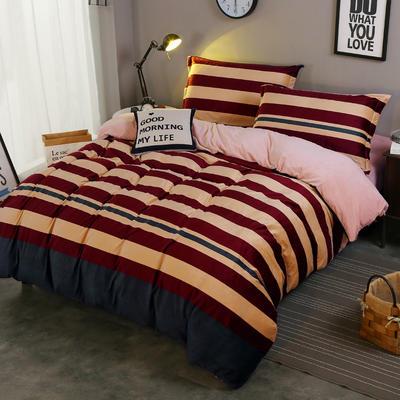 2018新款-水晶绒印花四件套 1.8m(6英尺)床/床单款 米卡-红蓝条