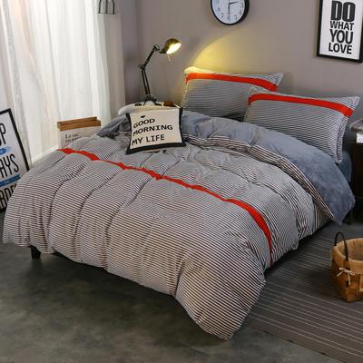 2018新款-水晶绒印花四件套 1.8m(6英尺)床/床单款 米卡-灰条