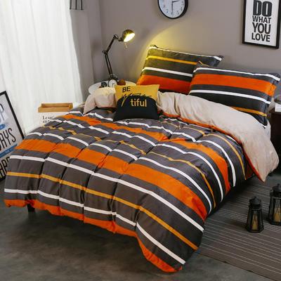 2018新款-水晶绒印花四件套 1.8m(6英尺)床/床单款 米卡-桔条