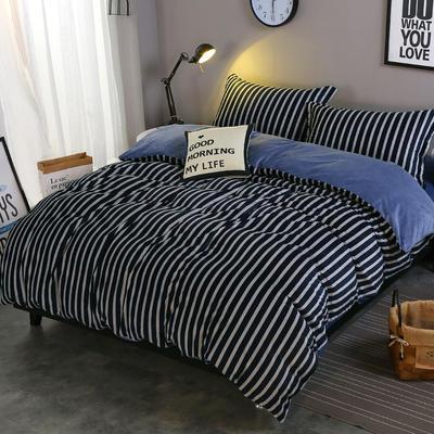 2018新款-水晶绒印花四件套 1.8m(6英尺)床/床单款 米卡-蓝条