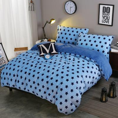 2018新款-水晶绒印花四件套 1.8m(6英尺)床/床单款 米卡-蓝星