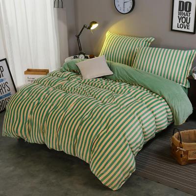 2018新款-水晶绒印花四件套 1.8m(6英尺)床/床单款 米卡-绿条