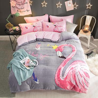 2019新款-法莱绒印花卡通大版四件套 1.5m(5英尺)床/床单款 安妮公主