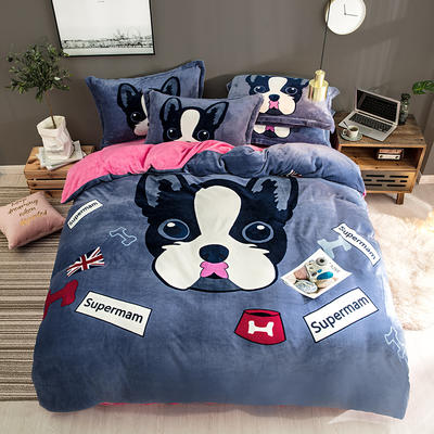 2019新款-法莱绒印花卡通大版四件套 1.2m(4英尺)床/床单款 斑点狗