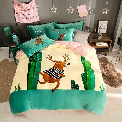 2019新款-法莱绒印花卡通大版四件套 1.5m(5英尺)床/床单款 慢时光