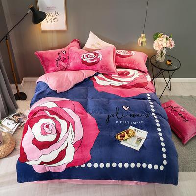 2019新款-法莱绒印花卡通大版四件套 1.5m(5英尺)床/床单款 玫瑰细雨