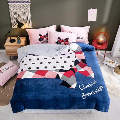 2019新款-法莱绒印花卡通大版四件套 1.5m(5英尺)床/床单款 伊丽莎白
