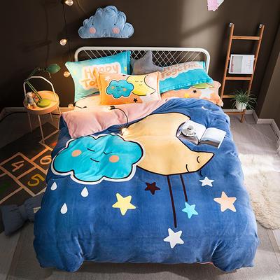 2019新款-法莱绒印花卡通大版四件套 1.8m(6英尺)床/床笠款 夜色