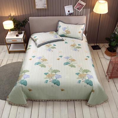 2019新款600D冰丝凉席床单款三件套 2.5*2.5 叶萝莉