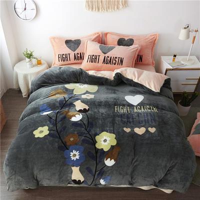 2019新款-法莱绒印花卡通大版四件套 1.5m(5英尺)床/床单款 缤纷花朵