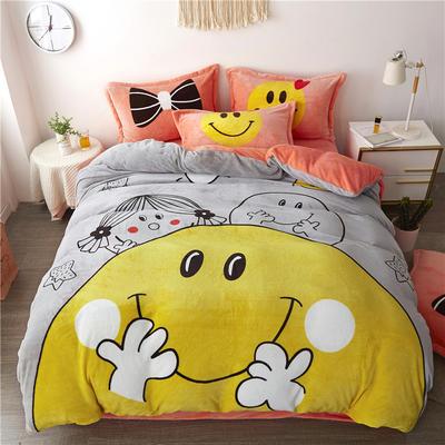 2019新款-法莱绒印花卡通大版四件套 1.5m(5英尺)床/床单款 大笑脸