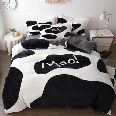 2019新款-法莱绒印花卡通大版四件套 1.5m(5英尺)床/床单款 牛奶糖