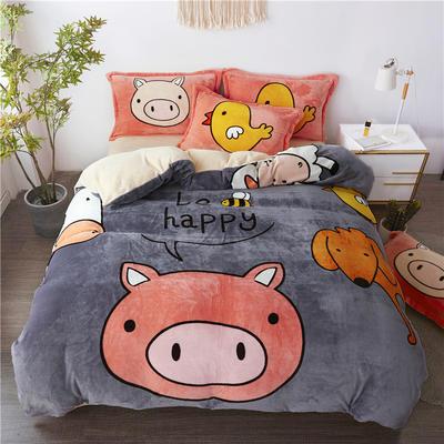 2019新款-法莱绒印花卡通大版四件套 1.5m(5英尺)床/床单款 小香猪