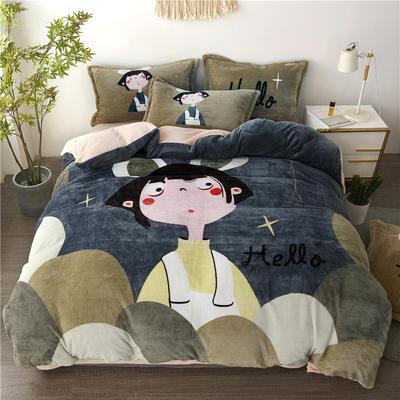 2019新款-法莱绒印花卡通大版四件套 1.5m(5英尺)床/床单款 星夜