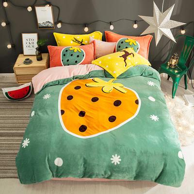 2019新款-法莱绒印花卡通大版四件套 1.2m(4英尺)床/床单款 甜蜜