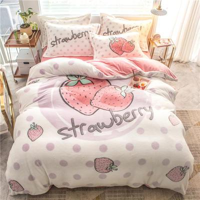 2019新款雪花绒大版四件套 1.5m床四件套(床单款) 草莓