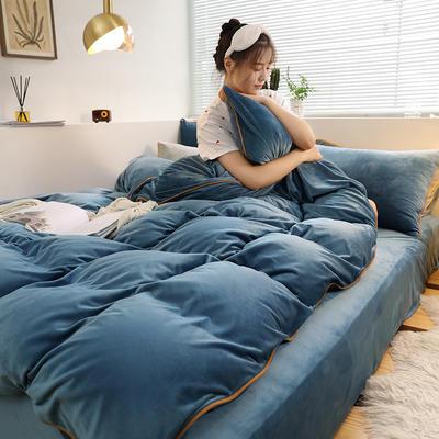 2019新款水晶绒嵌边四件套 1.2m床三件套(床单款) 宝石蓝