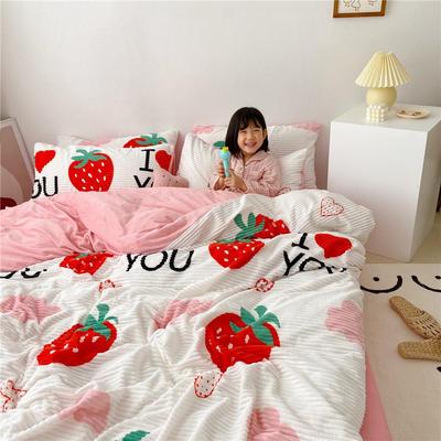 2019新款魔法绒印花四件套 1.2m床单款三件套 草莓之恋