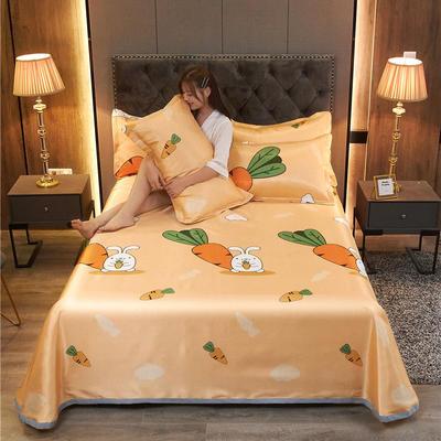 2020新款冰丝凉席床单款三件套 1.35/1.5床230*250cm三件套 胡萝卜