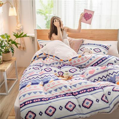 2020新款A类针织棉四件套 1.2m床单款三件套 波西兔子